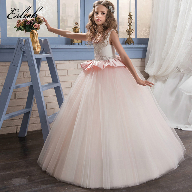 97b865885c7 Satin Flower Girl Dresses Beading Ruffles Little Girl Pink Scoop Tulle Ball  Gowns 0-14 Year Old 2017 First Communion Dresses
