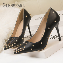 Women Pumps Party Shoes High Heels Brand Fashion Rivets Spring Summer Casual Shoes Woman Pointed Toe Black White Female Pumps DE hot spring 2017 new british style fashion women white blue jeans embroidery flower rivets slip on wedge pumps casual shoes