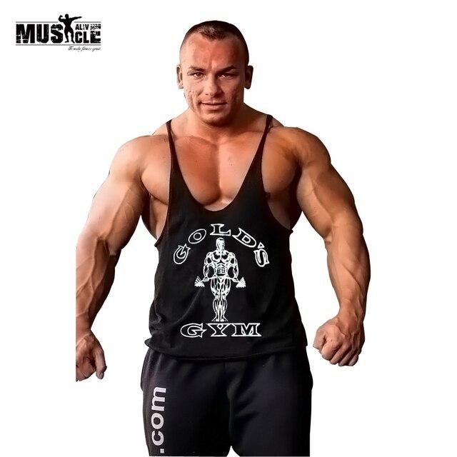 MÚSCULO VIVO Academias de Ouro Tanque de Roupas Top Dos Homens de Fitness  Musculação Stringer Singlet 233a4853a19