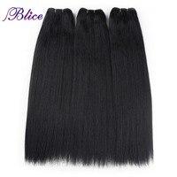 Blice Synthetische Haar Weben 18 Zoll Farbe # 1B Yaki Gerade Doppel Lange Schuss Nähen in Haarverlängerungen 100 Gr/teil 3 Teile/los