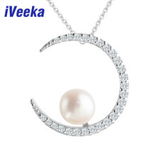IVeeka joyería de la perla natural de agua dulce colgante collar de plata regalo de las mujeres collar de perlas de agua dulce