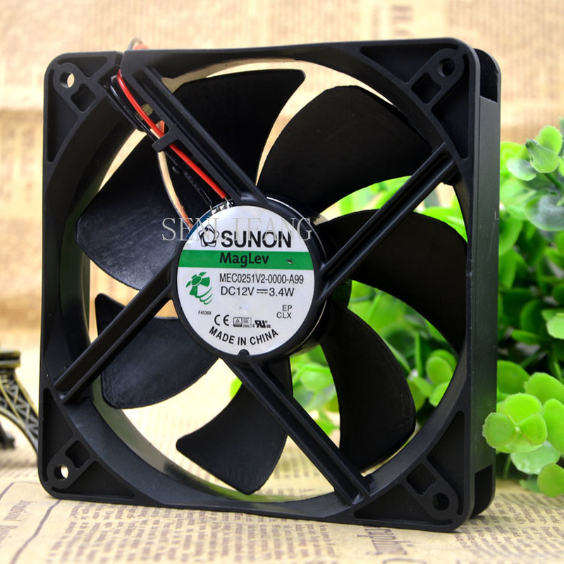 Free Shipping MEC0251V2-0000-A99 Cooling Fan DC 12V 3.4W 0.28A 450RPM 12025 12CM 120*120*25mm 3 Wires