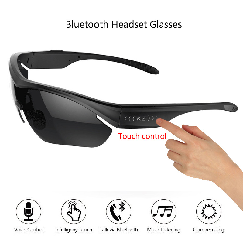 2018 Smart Glasses Touch Control Polarized Sunglasses Bluetooth 4.0 Stereo Headphone Headset With Microphone For iPhone Samsung