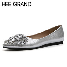 HEE GRAND Gold Silver Shoes Woman 2017 Slip On Ballet Flats Bling Crystal Loafers Casual Pointed Toe Women Flat Shoes XWD5091