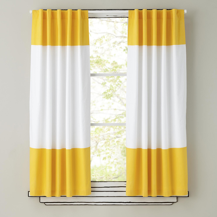 100 Cotton White And Yellow Lovely Stripe Curtain For Childrens Room Nursery