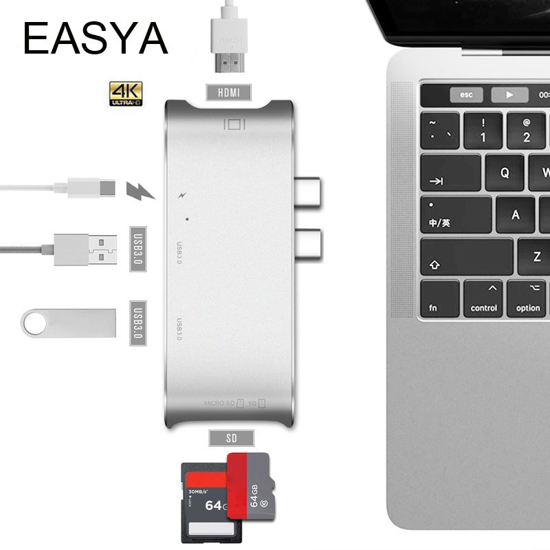 EASYA USB Type C Hub Thunderbolt USB C 3.0 Hub To HDMI Adapter 4K USB Combo With TF SD Card Reader For New MacBook Pro 2017 668 usb 3 1 type c card reader