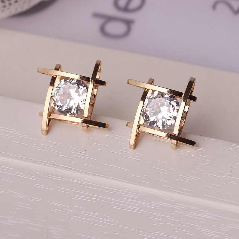 Elegant and charming black rhinestone full crystals square stud earrings for women girls statement piercing jewelry