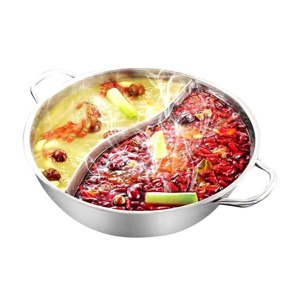 Горячая Распродажа 28 см горячий горшок Twin разделить Нержавеющая сталь 28 см кухонная посуда горячий горшок правили Совместимость бульона горшки для дома Кухня