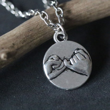 Pinky Promise Necklaces Vintage Silver BBF Best Friends Pendant Necklace Wealth Eternal Choker Collier Christmas Gift  new