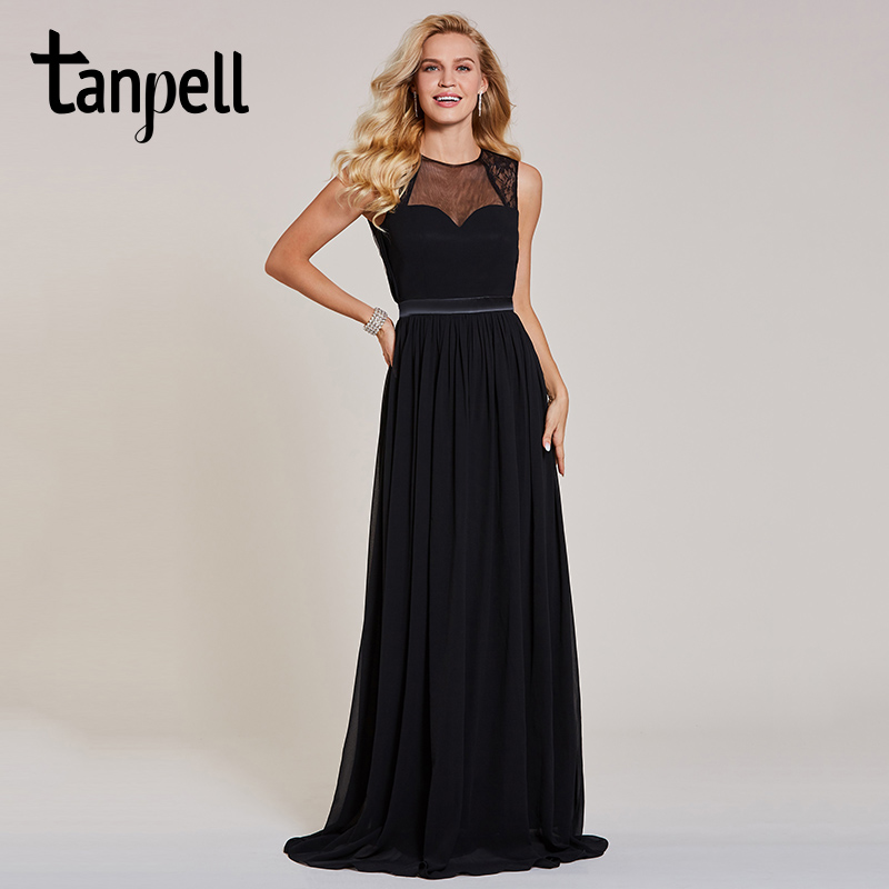 Tanpell longue dentelle robe de soirée noir sans manches étage longueur une ligne robe pas cher femmes dos nu bal fête formelle robes de soirée