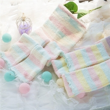 da851591f911e Princess sweet lolita pantyhose Autumn and winter Japanese coral fleece ice cream  color stripe warm pantyhose