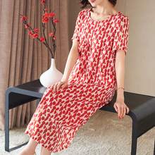 Red Print Short Sleeve Loose A-Line Dress 2019 New Women Summer Office Lady Work