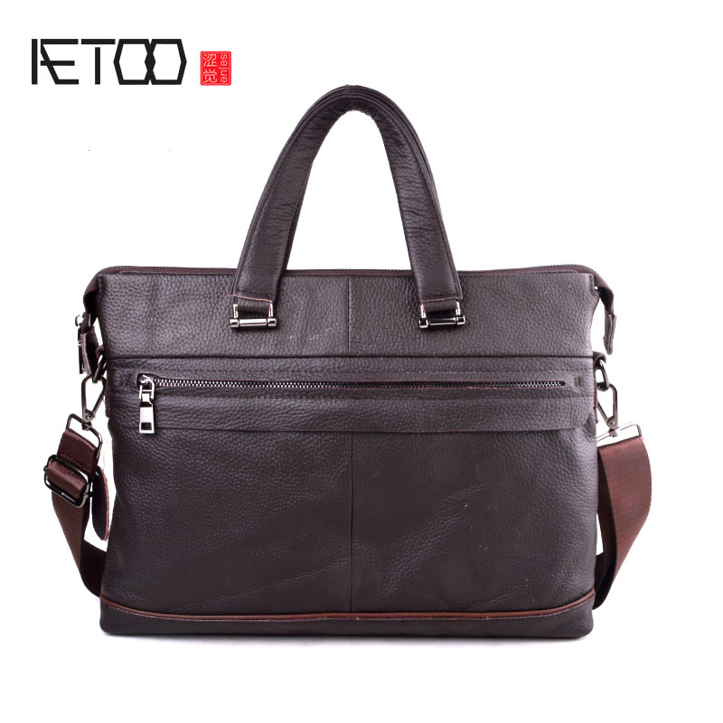 AETOO 2018 New vintage Genuine Leather Men Bag Famous Shoulder Bag Messenger Bags Causal Handbag 15'' Laptop Briefcase Male a suit of chic rhinestone leaf shape necklace bracelet earrings and ring for women
