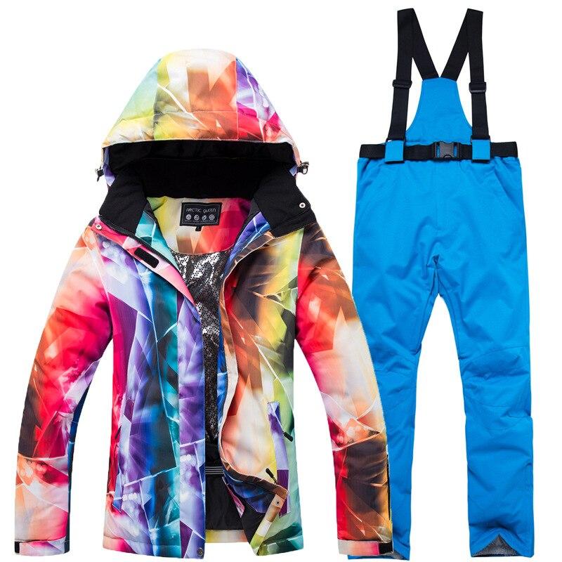 2019 nouveau costume de Ski femmes coupe-vent imperméable respirant-30 degrés résistant au froid veste de Snowboard chaud pantalon veste de Ski femmes