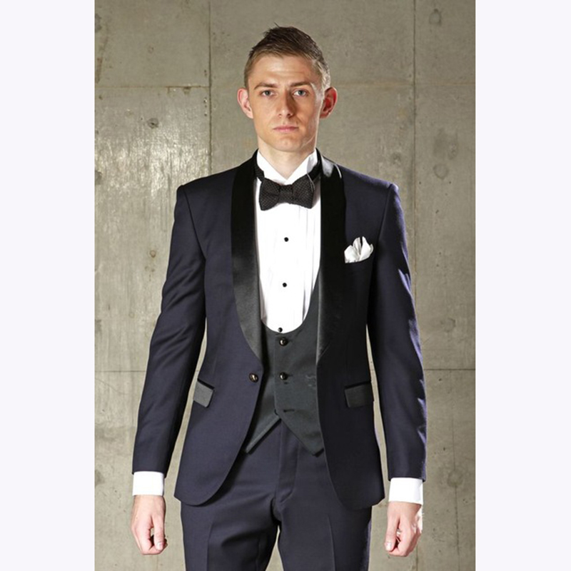 Navy Blue <font><b>terno</b></font> Party Prom <font><b>Suits</b></font> Groom Tuxedo <font><b>2018</b></font> new Groomsmen 3 piece <font><b>Wedding</b></font> Blazer <font><b>Suits</b></font> for <font><b>men</b></font> (Jacket+Pants+Vest) image