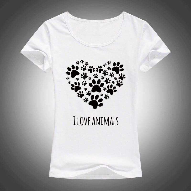 Lastest Novelty Women O-Neck I Love Animals Heart Short-Sleeve Tees