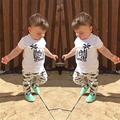 2017 summer style baby boy clothes cotton cartoon coconut tree T-shirt+fashion fish pants newborn baby girl clothing set