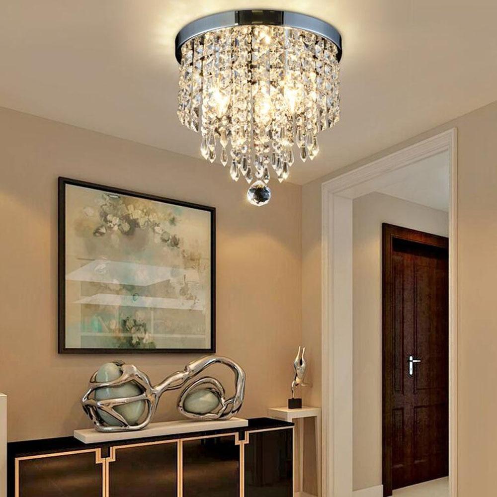 Modern crystal simple lustre Ceiling Lights Plafonnier E14 LED 220V ceiling lamp for Living room bedroom restaurant hallway bar