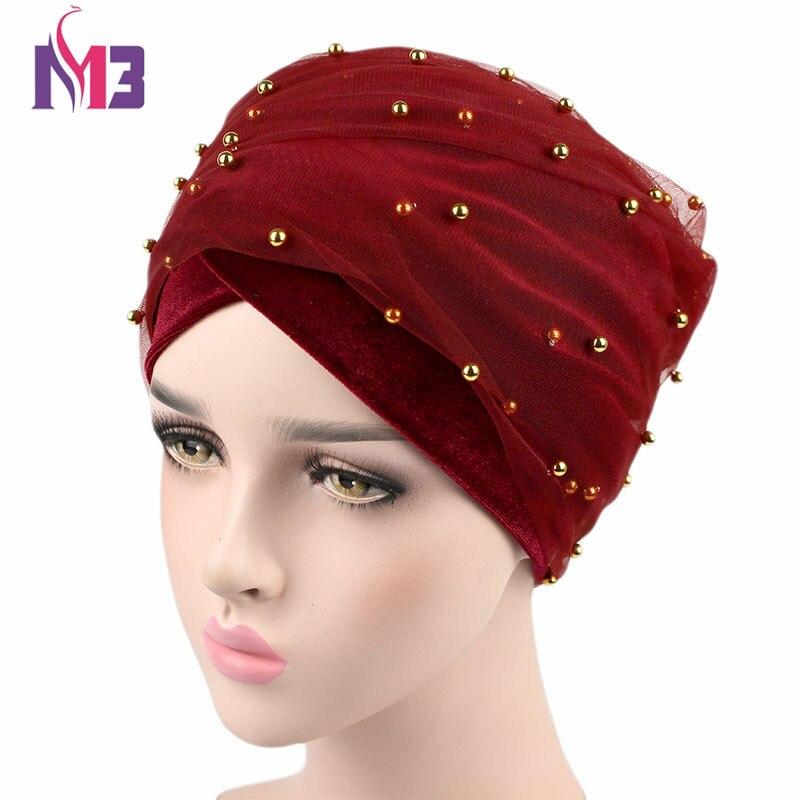 Nueva moda de terciopelo de las mujeres larga cinta Turbante de malla de terciopelo de doble capa con cuentas de oro Hijab musulmán pañuelo Turbante corbata Headwrap