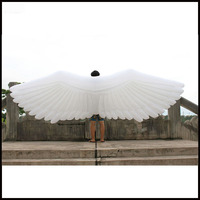 Free shipment length 4m New product inflatable model oxford cloth white large angel wing inflatable wing/inflatable model