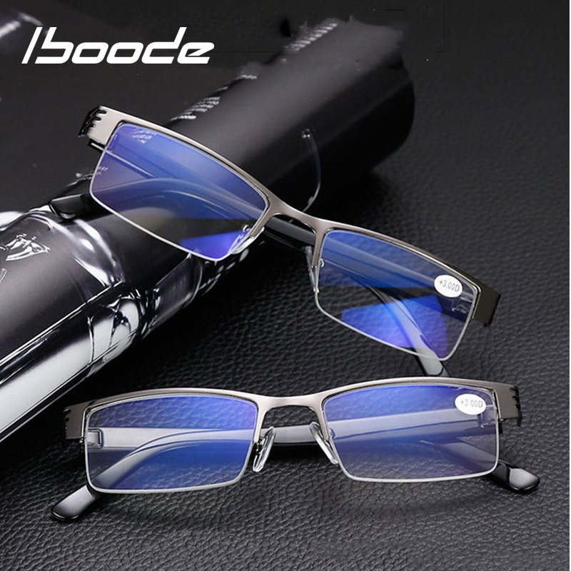 Iboode Resin Reading Glasses Men Women Metal Half Frame Hyperopia Presbyopia Eyeglasses Diopters +1.0 1.5 2.0 2.5 3.0 3.5 4.0