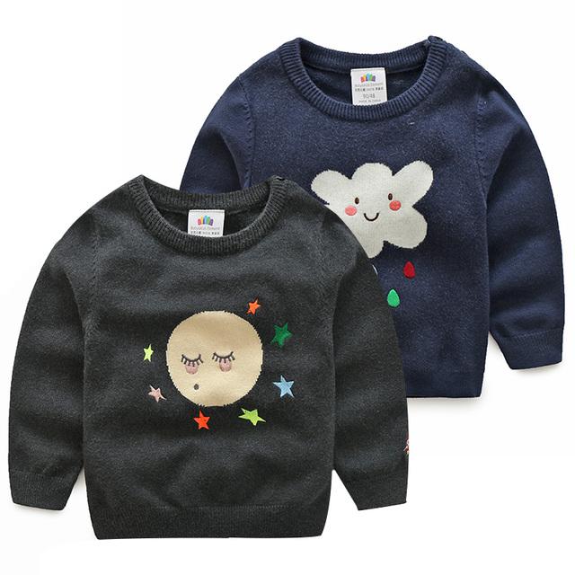 Pullover Camisola do bebê Dos Desenhos Animados Estrela Lua Nuvem Padrão Crianças Meninas Camisola de Malha meninos Da Criança Top 2 T 3 T 4 T 5 6 7 9 Anos de Roupas