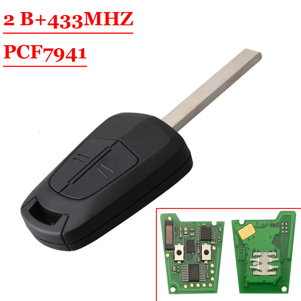 Oferta caliente (1 piezas) calidad de fábrica 2 botones de Control remoto coche llave 433 Mhz PCF7941 Chip para Opel Vauxhall Astra