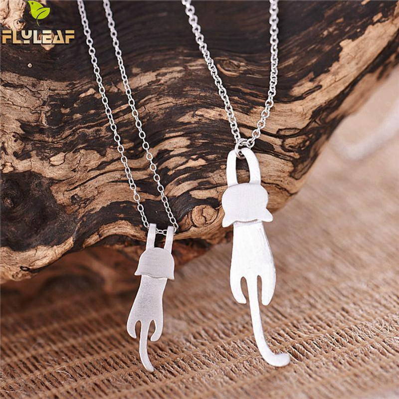 Flyleaf 925 Sterling Silver Cute Cat Necklaces & Pendants For Women High Quality Sterling-silver-jewelry