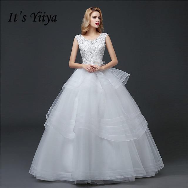 O neck Lace Quality Sleeless Plus size Wedding Dresses 2017 Custom ...
