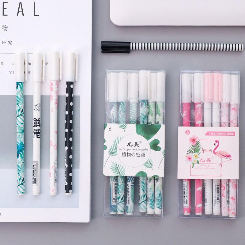0.5mm Cute Colorful Gel Pen Set Creative Kawaii Plastic Black Gel-ink Pens Gift Student Stationary Office School Supplies 04265