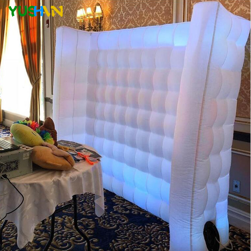 Photo Booth Backdrop Inflatable Wall Portable Photography Backdrops Wall With LED Changing Lights For BirthdayGraduation Wedding