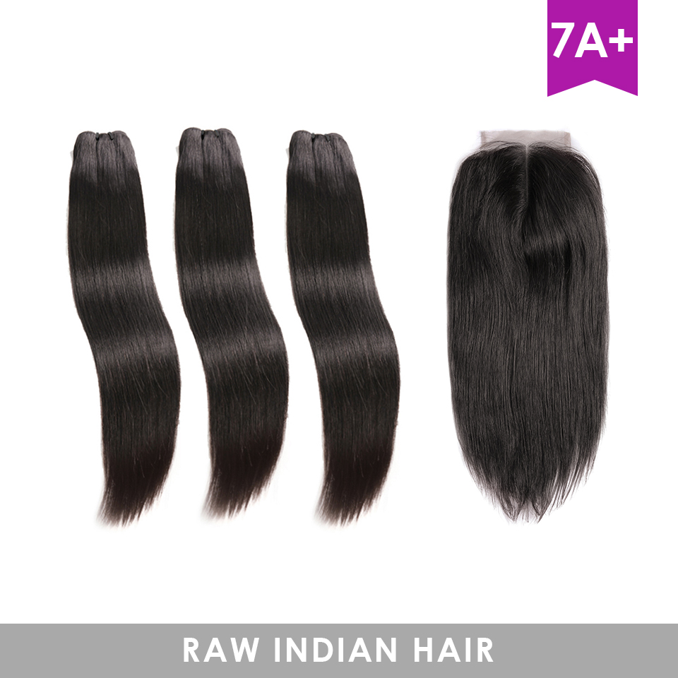HJ WEAVE BEAUTY Raw Indian Virgin Hair Straight Bundles With Closure Hair Weave Bundles With 4X4 Lace Closure Free Shipping-in 3/4 Bundles with Closure from Hair Extensions & Wigs    2