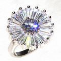 Daisy sun flower rectangular Big CZ Stone rings women's beatiful ring fantastic jewlery