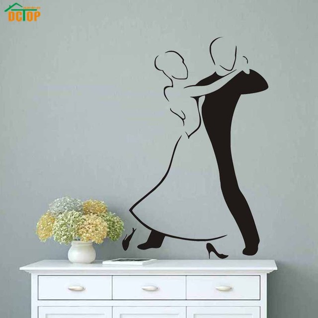 Modern Black White Women And Man Social Dance Wall Decals Vinyl Removable  PVC Wall Stickers Living