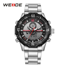 WEIDE Mens Sport LCD Dual Display Movement Stopwatch Luminous Quartz Analog Day Date Stainless Steel Band Strap Day Wrist Watch