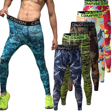 Mens Compression Pants Camo Sports Running Tights Basketball Gym Pants Bodybuilding Jogger Skinny Leggings Trousers