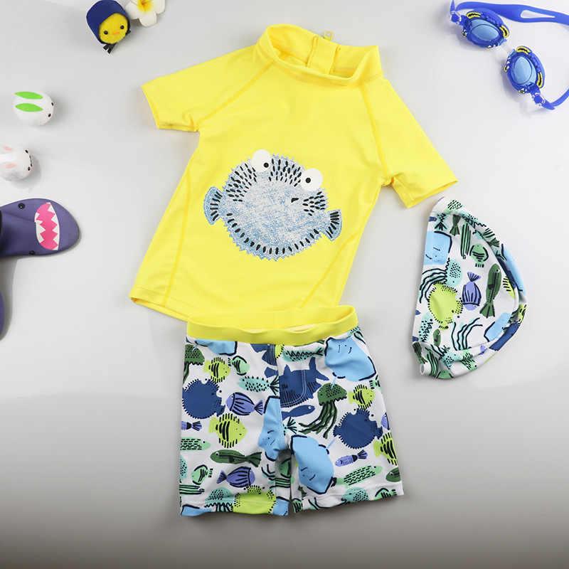 ae907fee4b ... Children Cartoon Fish Swimsuit Kids Girl Beach Wear Rashguard Swimwear  Baby Boy Swiming Bathing Hat+ ...