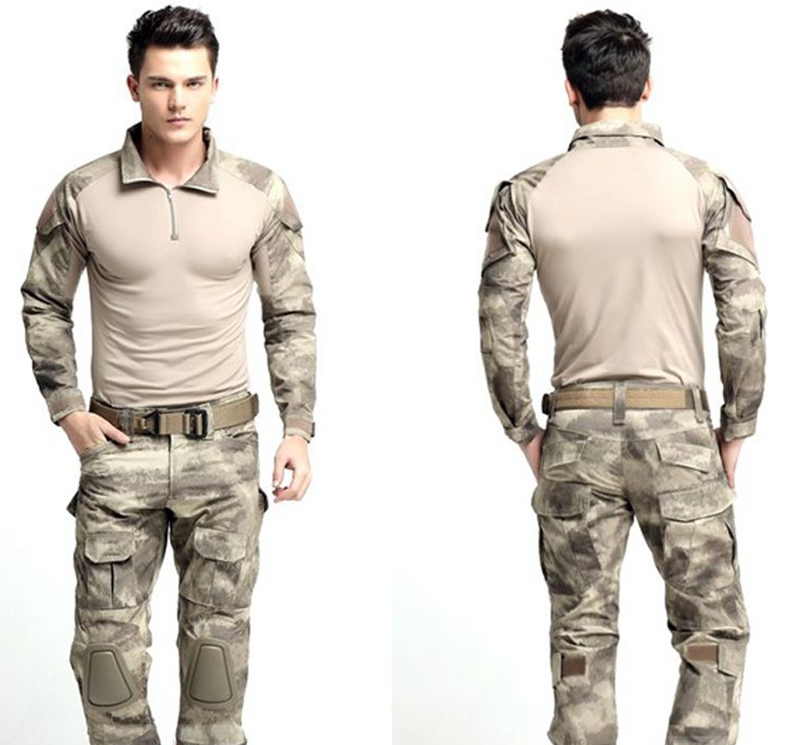 ФОТО Army Men Tactical Uniform Military Shirt Sport Quick Drying Shirts Combat Gen 2 Suit &Pants with Knee Pads Elbow Pads