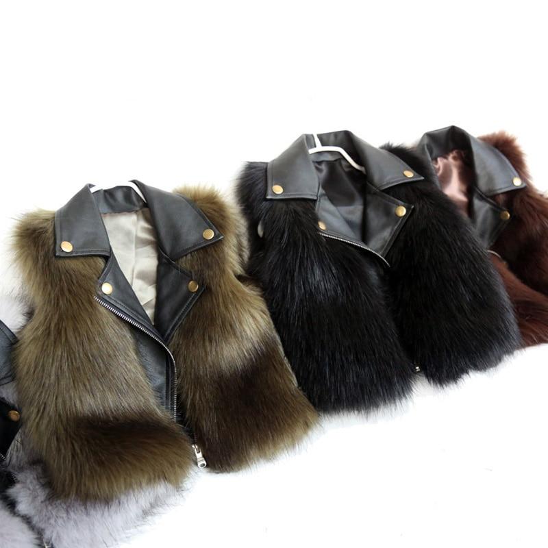 Baby Waistcoat 2018 PU Leather Collar Faux Fur Vest Girl Sleeveless Jackets Boy's Vest Jacket Winter Autumn Kids Luxury Vests