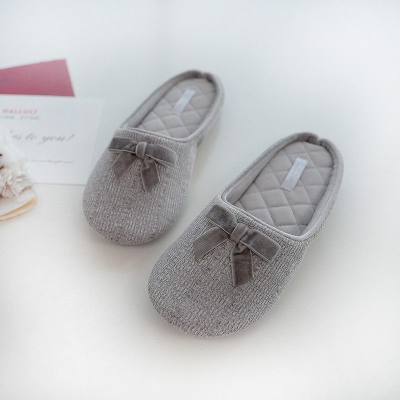 New Cotton Slippers Women Spring Autumn Home Shoes Bowknot Casual Non-slip Indoor Flat with Shoes Female