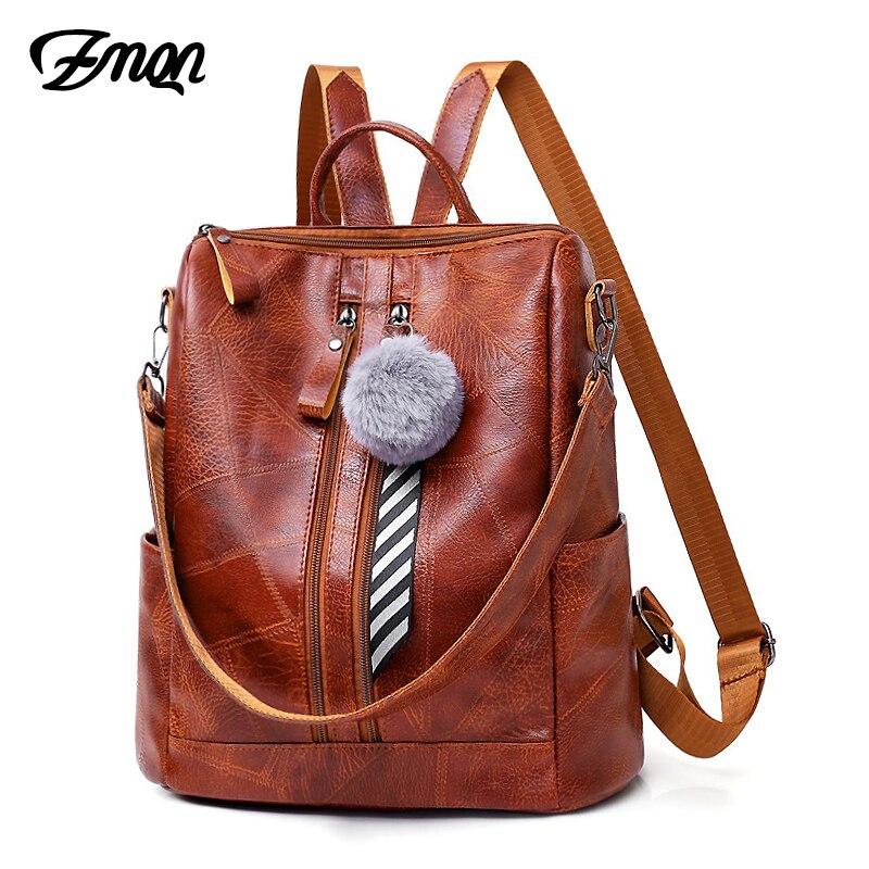 ZMQN Backpack School 2019 Women Bag Waterproof Backpack For Woman Shoulder Vintage Big Capacity PU Leather Travel Back Pack C119