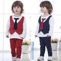 2 pcs Camisa Colete + Calça Crianças Terno Cavalheiro menino Twinset Outfit roupa Dos Miúdos definir
