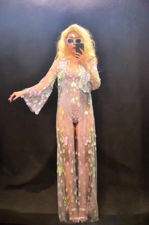 2019 Новинки для женщин сексуальное боди плащ с длинными рукавами комплект Сверкающие Красочные Блестки для ночного клуба вечерние Танцовщи