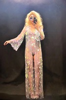 2019 Women New Sexy Bodysuit Long Sleeve Cloak Set Sparkling Colorful Sequins Nightclub Party Dancer Stage Wear Costumes Set