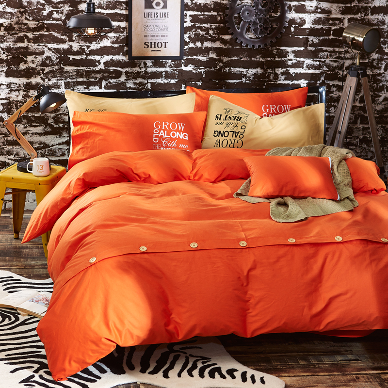 pur coton couleur unie couette literie ensembles botton plaine orange rose rouge linge de lit. Black Bedroom Furniture Sets. Home Design Ideas