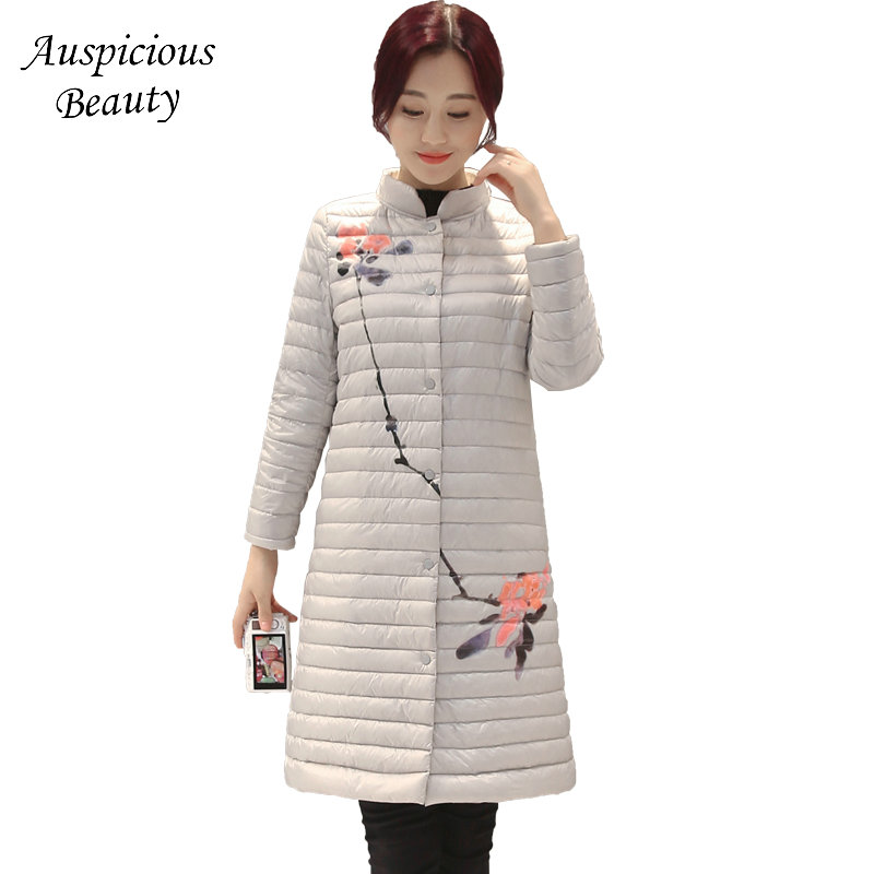 Winter New Women Down Coats Female White Duck Down Jacket Ladies Printed Stand Collar Warm Outwear Long Overcoat Plus Size CX44
