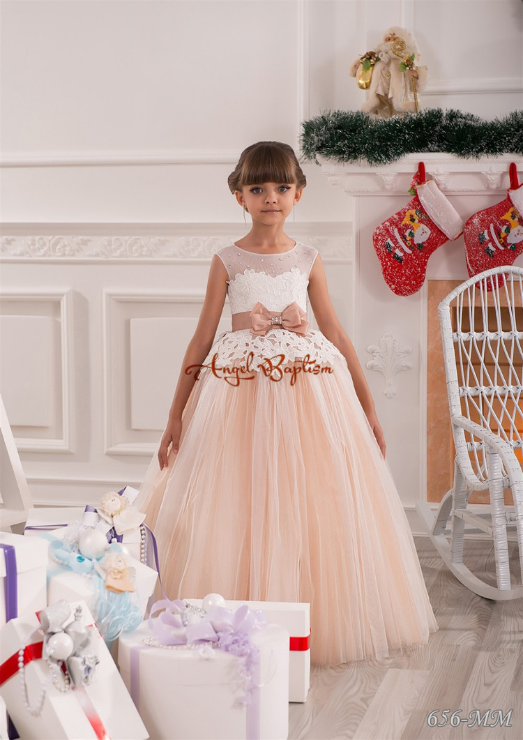 New orange coral flower girl dresses with sheer lace keyhole back crystals rhinestone bow sash tutu tulle first communion gown cute new long sleeves white ball gown flower girl dresses french lace beaded first communion dress with sequin bow and sash