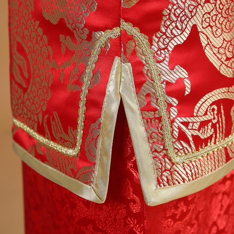 Kinesisk Manlig Bröllopsklänning Mans Tang Suit Man Kinesisk Röd - Nationella kläder - Foto 5