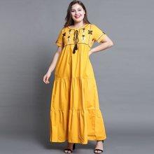 140eddfd73 Kobiety Maxi sukienki Boho żółty na co dzień Plus rozmiar 4XL Aline  kwiatowy haft Lace Up