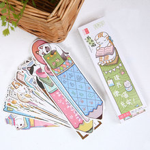 30 pcs/box creative Learn the cat paper bookmark stationery bookmarks book holder message card school supplies papelaria